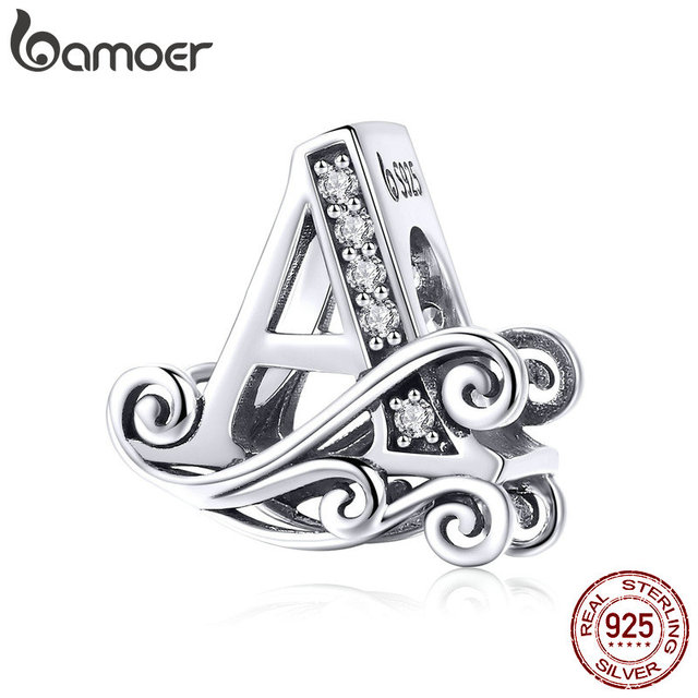 BAMOER 2019 NEW 925 Sterling Silver Vintage A to Z Clear CZ 26 Letter Alphabet Bead Charms Fit Bracelets DIY Jewelry BSC030 1
