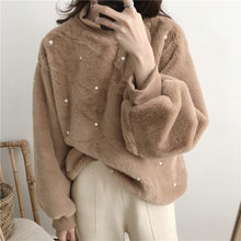 Turtle neck loose hoodie faux fur fleece beading long sleeves winter spring hoodie for fashion lady without hood(China)