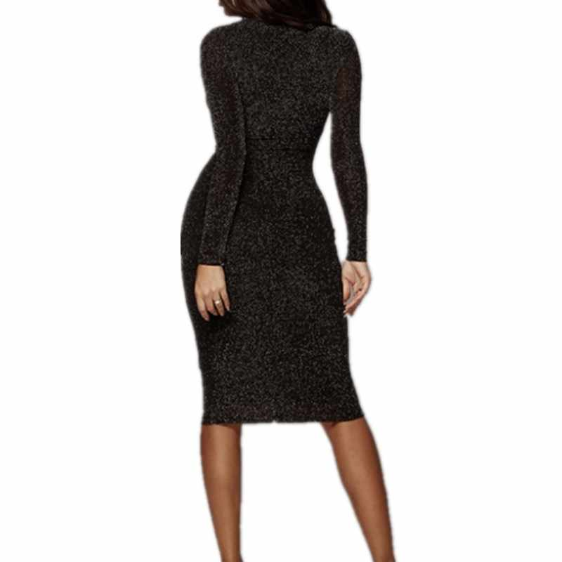 ... Sexy Bodycon Dress Women O Neck Long Sleeve Bling Sequin Dress Femme  Slim Black Short Mini ... 46a8b03157e0