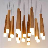 Nordic Style Wooden Stick Decoration Log Country Kitchen Modern Natural Wood Pipe Pendant Lights LED Loft Decor Hanging Lamp
