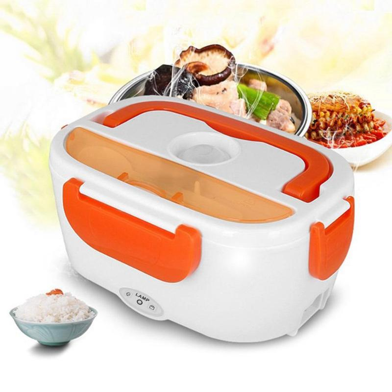 Electric Heating Lunch Box With Spoon Food Container Auto Car Food Rice Container Warmer For School Office Home Dinnerware