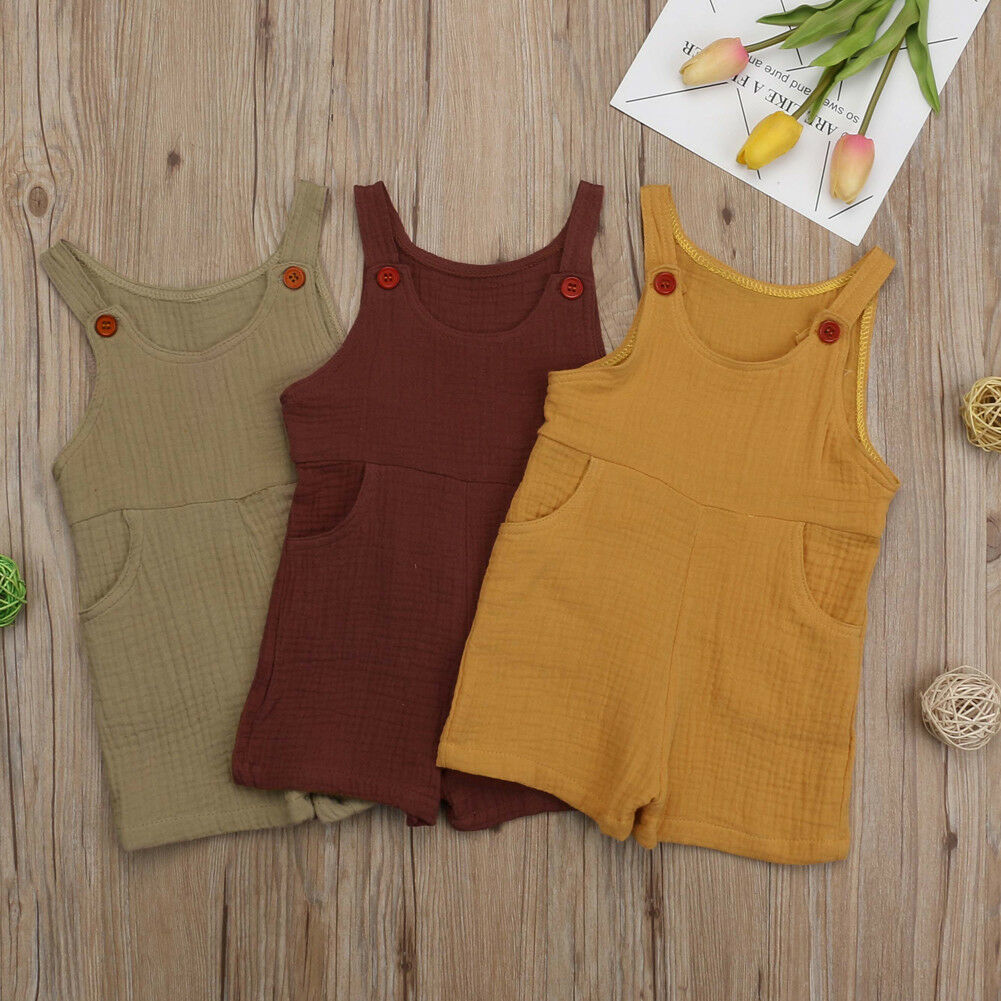 2019 New Summer Baby Girls Boys Cotton Linen   Rompers   Overalls Infant Jumpsuit Sleeveless Playsuits Outfits Clothes 0-3Y