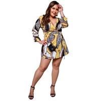 Dress Fashion Womens Casual Long Sleeve V-Neck  Dress Print Bandage Mini Dress women