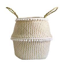 Натуральные водоросли тканые ручные корзины для хранения игрушек ажурные цветочные горшки в скандинавском стиле ручные складные цветочные горшки