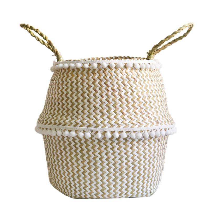 Natural Seaweed Woven Handheld Toy Storage Basket Lacework Nordic Style Plant Flower Pots Hand-Knotted Foldable Flower Pots