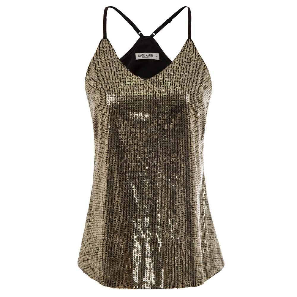 GK S~2XL Sexy short   tops   Women Summer club wear party luxury elegant black/gold Spaghetti Straps V-Neck Sequined Cami   tank     Tops