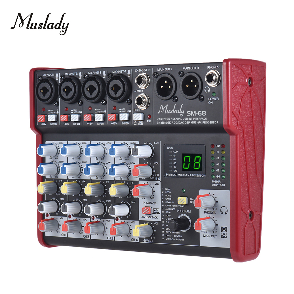 Muslady SM-68 Portable 6-Channel Sound Card Mixing Console Mixer Built-in 16 Effects With USB Audio Interface Supports
