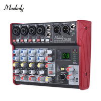 Muslady SM 68 Portable 6 Channel Sound Card Mixing Console Mixer Built in 16 Effects with USB Audio Interface Supports