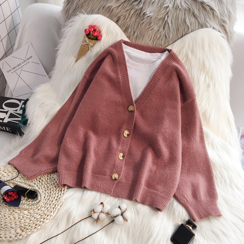 PEONFLY 2019 Autumn Winter Women Sweater Cardigans Solid Color Soft Cardigans Single Breasted Knitted Sweater Harajuku Coat