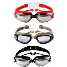 Гальванические плавательные очки с креплением беруши Анти-туман Анти-ультрафиолетовая большая рамка Оптические очки для плавания для взрослых