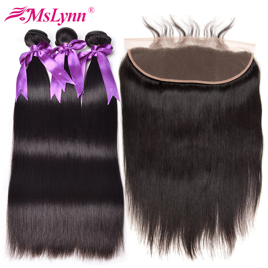 Straight Hair Bundles With Frontal Malaysian Hair Frontal With Bundles Human Hair Bundles With Closure Non