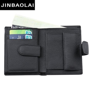 100% Luxury Genuine Leather Wallet Fashion High Quality Short Bifold Wallet With Coin Pocket Purse Casual Card Holder Wallet Men new fashion brand wallet men leather bifold card checkbook holder long wallet organizer purse multifunctional card holder wallet