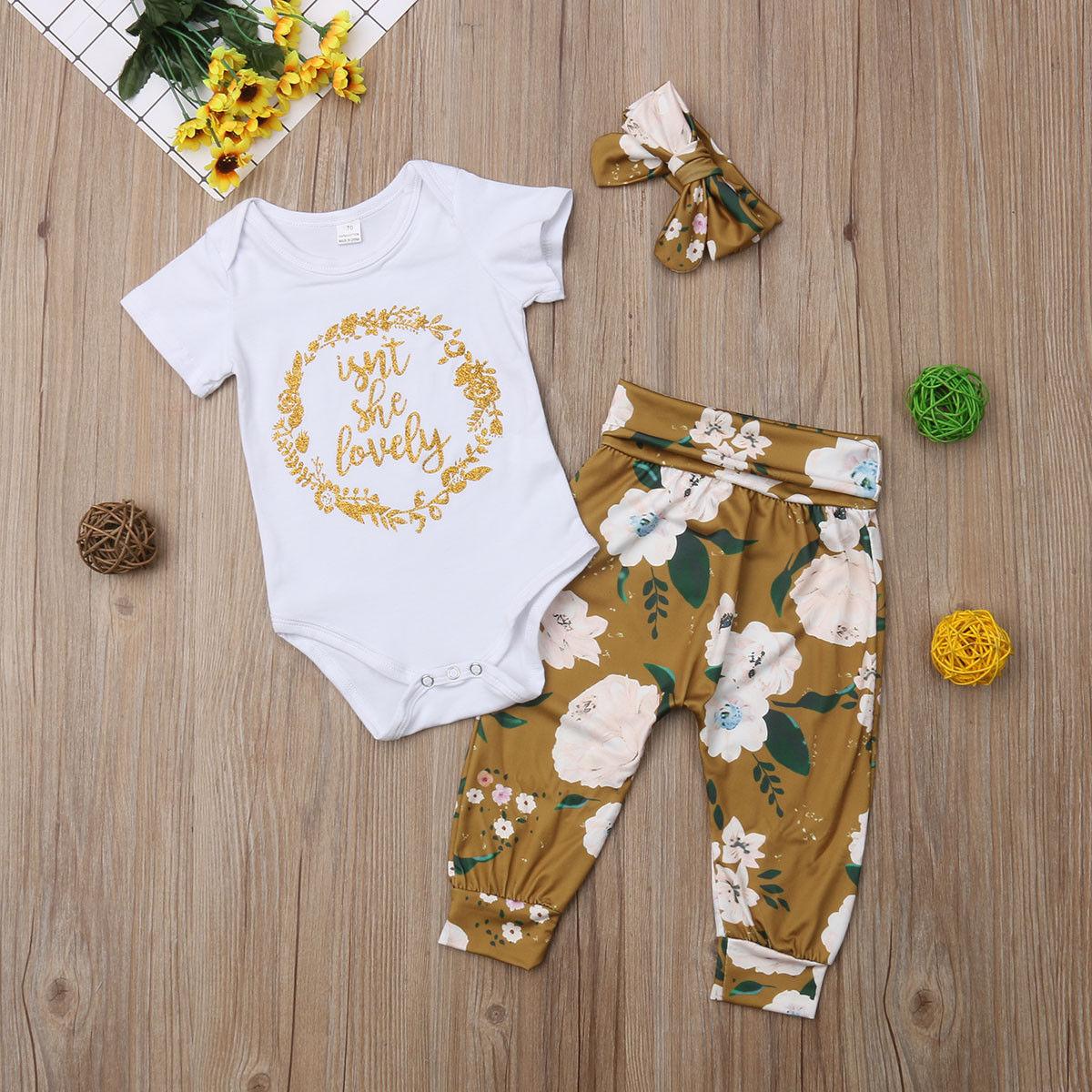 Newborn Kid Baby Girls Floral Clothes Jumpsuit Romper Bodysuit Pants Outfits Set
