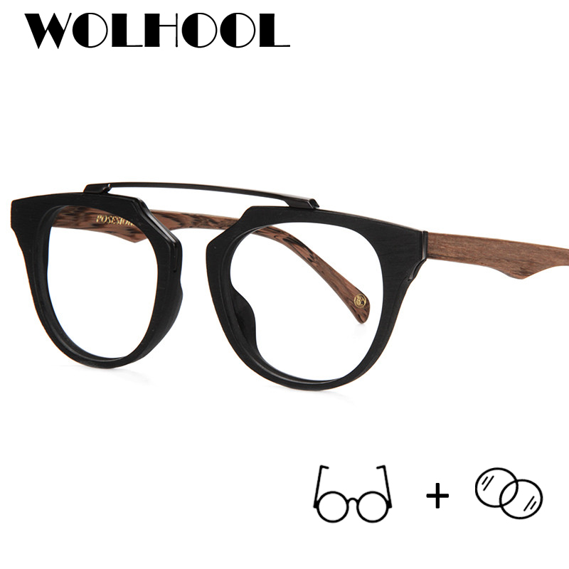 233c25ed9a Vintage Wood Glasses Frame Women Fashion Black Square Brand Glasses Optical  No Nose Pad Clear Lens