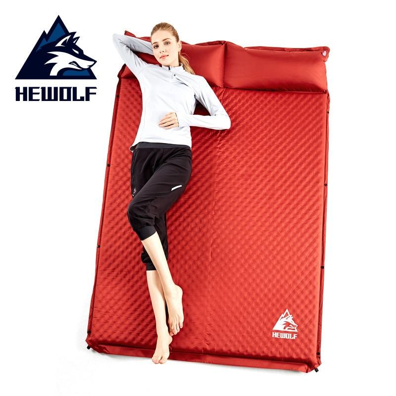 Double personne 5 cm gonflage automatique coussin de couchage en plein Air tente matelas Coupe lit d'air en plein Air Camping tapis Colchon gonflable
