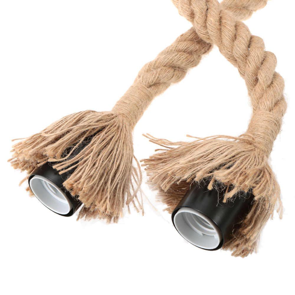 E27Double Head винтажная пеньковая веревка подвесной потолочный светильник лампа промышленный ретро деревенский стиль столовая Бар Кафе освещение