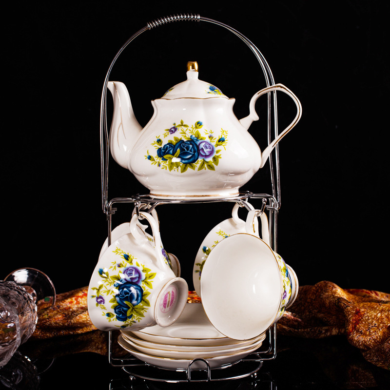 Pottery Porcelain Delicate Rose Tea Coffee Cup Set 1 x 550ml Pot +4 x 150ml Cup+4 x Saucer English Tea Pot Cup Stand Set