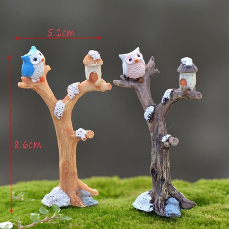 New Terrarium Mini Landscape Ornaments Decorations Night Owl Simulation Tree Fairy Garden Accessory