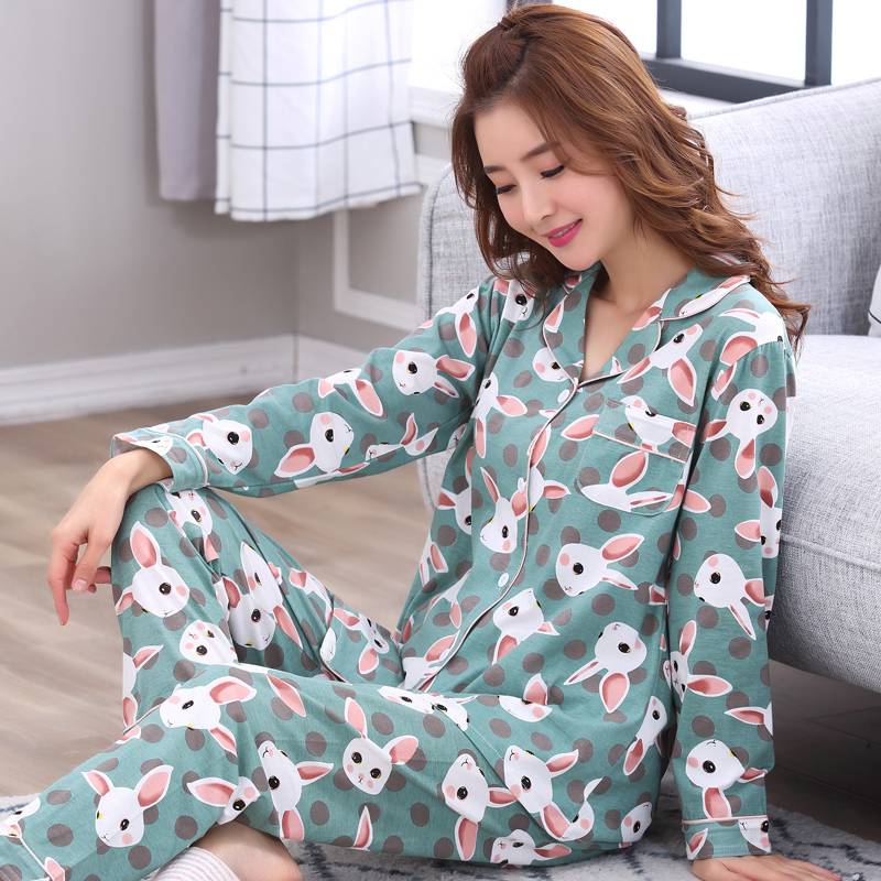 Spring 2019 WAVMIT New Women Pyjamas Clothing Long Tops   Set   Female   Pajamas     Sets   NightSuit Sleepwear   Sets   Women Home Wear