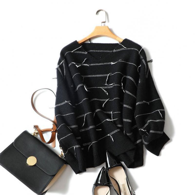 Shuchan вязаный джемпер свитер женский в полоску Женский 100% кашемировый свитер свободный большой размер пуловер Женский 2018 повседневные топы