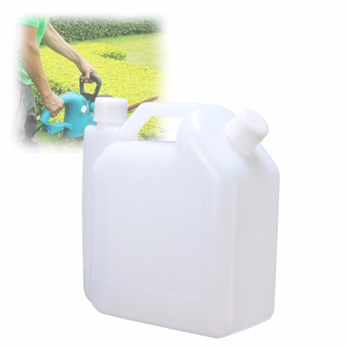 1 Litre 2 Stroke Oil Petrol Fuel Mixing Bottle Tank For Chainsaw Trimmers 1:25 Plastic Fuel Tanks White 15.5x7.3x16.3cm