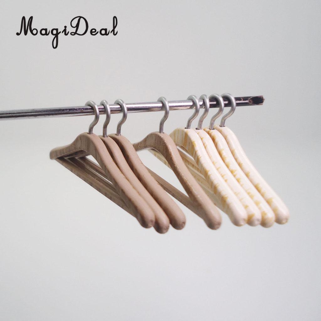 Dollhouse 4pcs White Clothing Hangers Miniature 1:12 Bedroom Wardrobe Decor