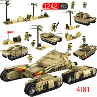 Military 1242pcs Bricks Tanks Soldier Figures Weapon Model Building Blocks Toy for Boys Compatible with Legoed Ww2 T90 M1A2