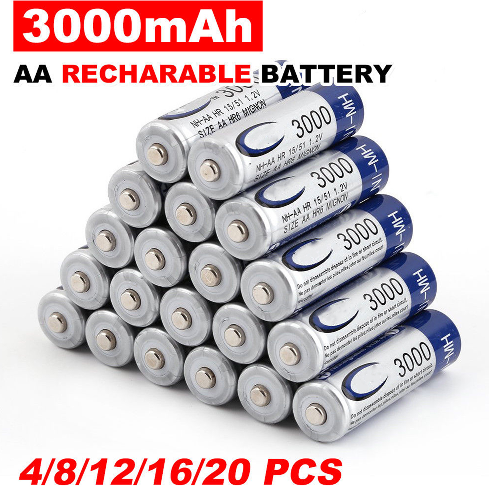 4-50pcs 3000mAh AA 2A NI-MH 1.2V Rechargeable Battery Recharge Pre-Charged Ni-MH Rechargeable Battery For Toys Camera Microphone(China)
