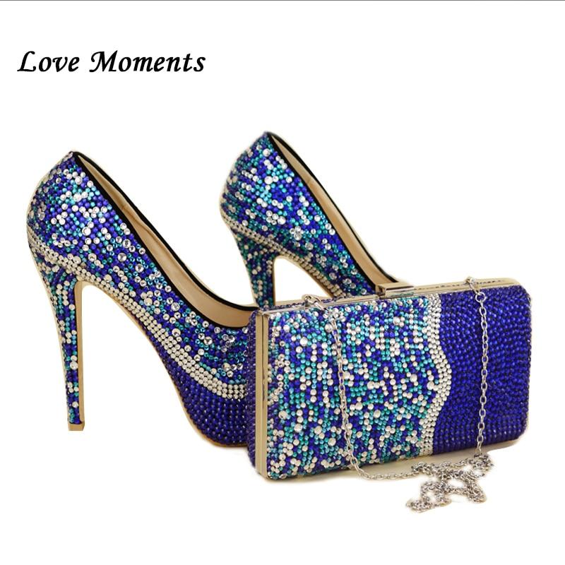 Love Moments 로얄 블루 라인 석 여성 결혼식 신발 Macthing 가방 숙 녀 패션 신발 및 가방 높은 플랫폼 신발 여자