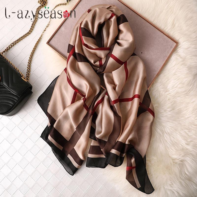 2019 brand silk hijab scarf women spring headband Euro Design silky Scarves wraps plaid summer shawl for lady foulard femme