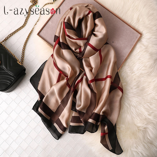 2019 de seda da marca cachecol hijab mulheres headband do inverno Euro Projeto Lenços de seda wraps xadrez xale de verão para lady foulard femme