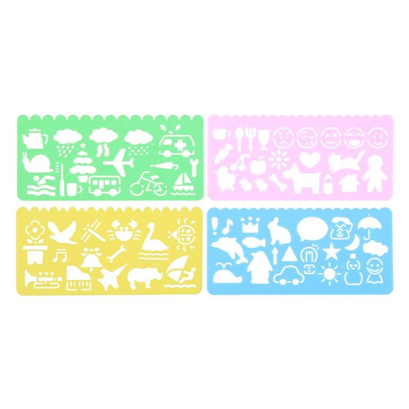 4Pcs Kawaii Korean Candy Color Drawing Template Ruler Student Kid Drafting Tool Stencil Painting Tool Gift Stationery Supply