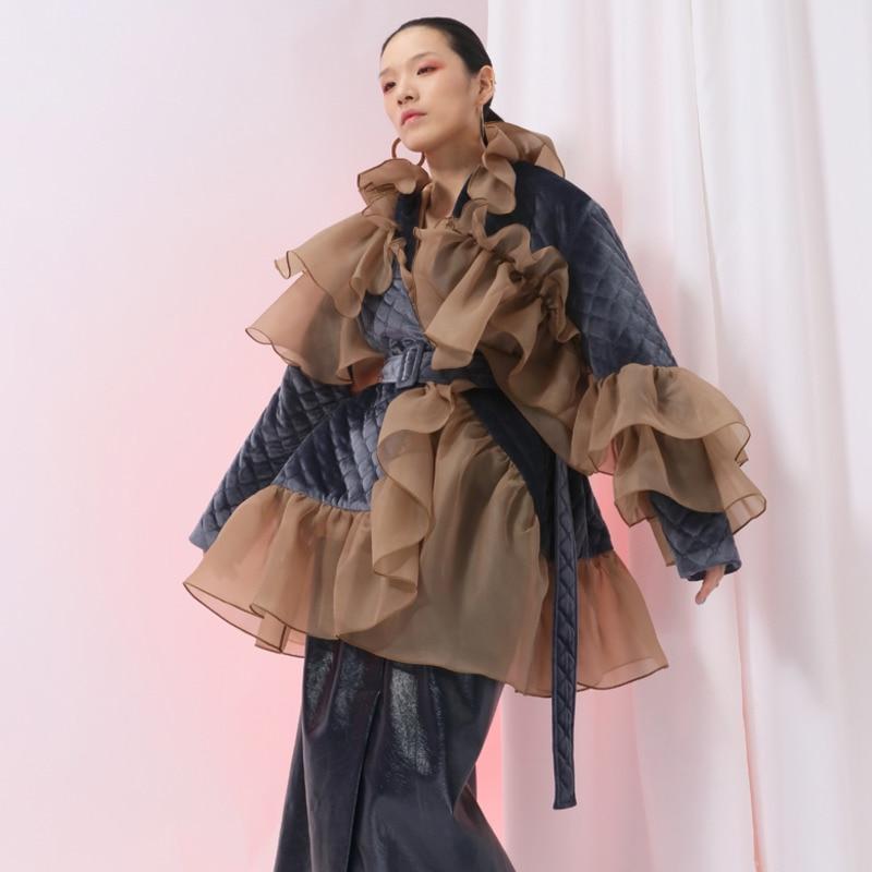 Wc09904l Spliced Automne Picture 2018 Coton Ceintures Vêtements Patchwork D'hiver Nouvelle Deat Ruches Manteau Et Femmes Mince En As Européenne Avec Mode UqRFxf4x