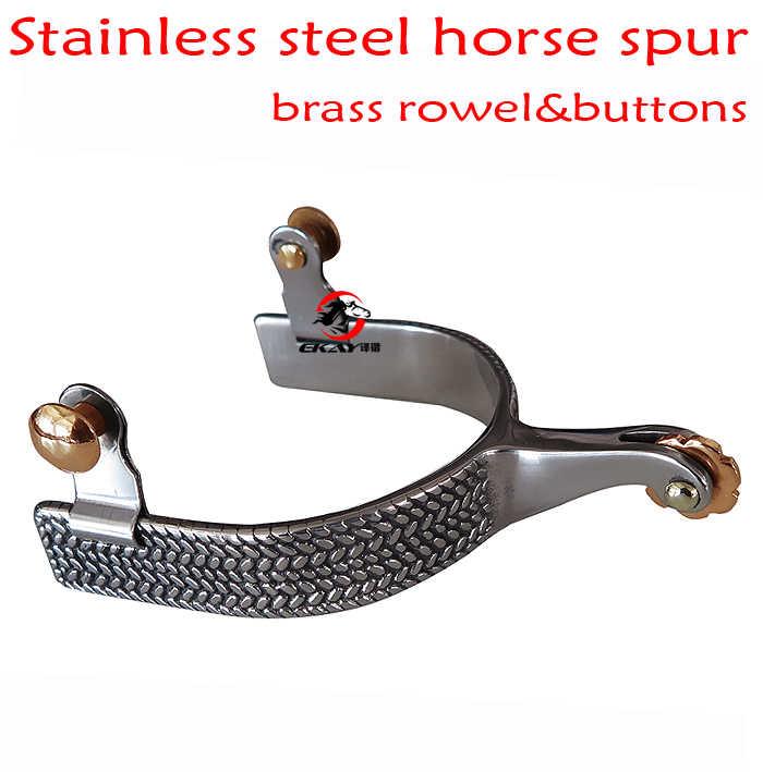 Frete grátis, aço Inoxidável espora cavalo ocidental, o tamanho dos homens. produto do cavalo. com o bronze rowel & botões (SP5128)