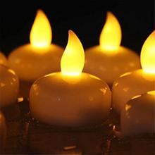 12 шт. для вечерние беспламенные водонепроницаемые свечи лампы поплавок на воде светодиодные пластиковые плавающие чайные лампы на батарейках