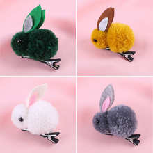 1PC Plush Girls Rabbit Hairpin Hair Rope Cute Cartoon Clip Korean 3D Animal Child Accessories Rubber Band
