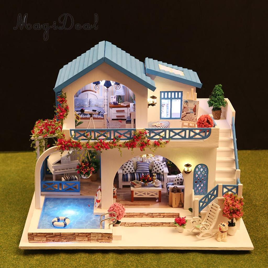 1 24 Scale DIY Handcraft Miniature Project Kit Wooden Dolls House Model Sidi Bou Said Town