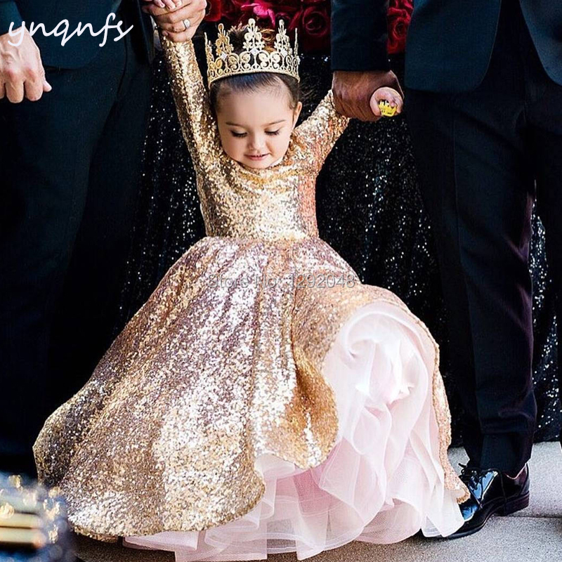YNQNFS G3 Gold   Flower     Girl     Dresses   Long Sleeve Bling Sequins Ball Gown Birthday   Dress   Party Evening First Communion   Dresses