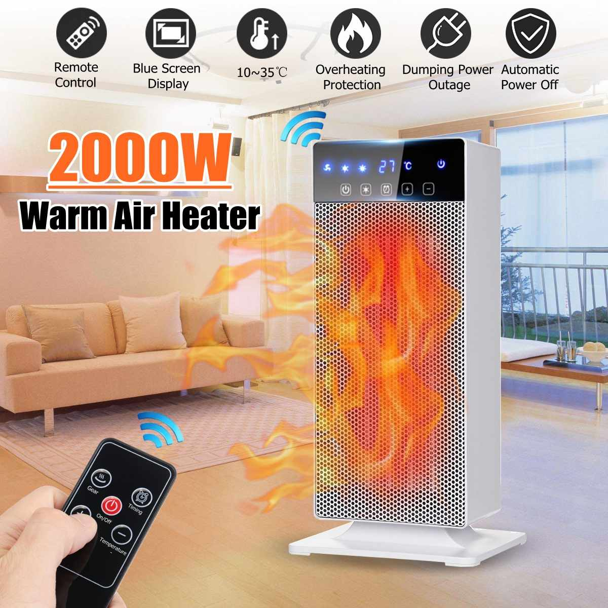 2000W PTC Vertical Electric Warm Air Heater fan Remote control/Mechanical models with LED Digital Display For Home Office Use