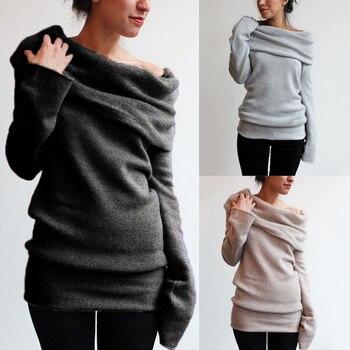 Sexy Off Shoulder Long Sleeve Sweatshirts Autumn New Fashion Solid Color Women Hoodies Slash Neck Streetwear Female Clothing