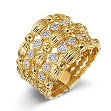 цена на Luxury Engagement Ring for Women Gold Color Flower Hollow Love Wedding Rings Cubic Zirconia Paved Stone Fashion Jewelry DBR019