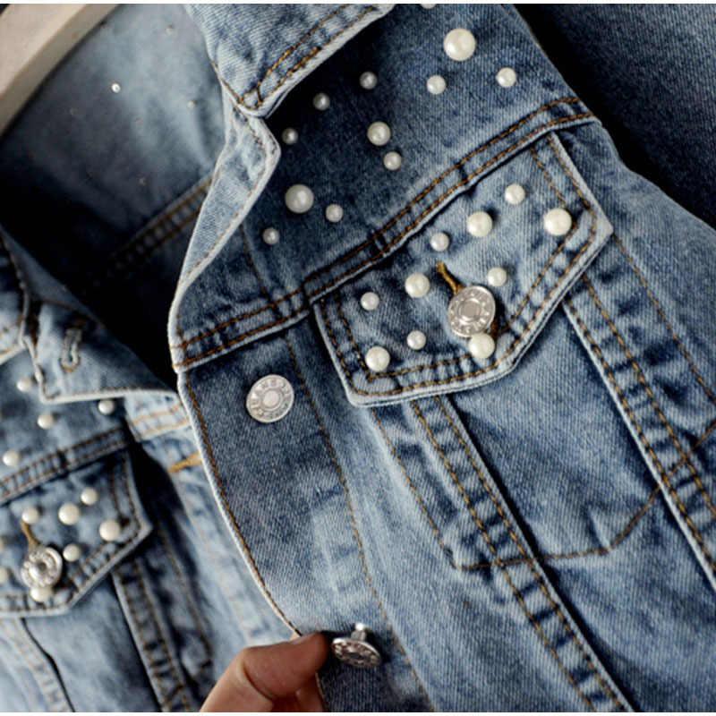 Plus Größe Perle Perlen Kurze Denim Jacken 5xl Frauen Weiß Waschen Langarm Vintage Casual Jeans Jacke Bomber Denim Mantel za