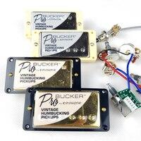 1 Set Original Genuine Epi LP Standard PRO Electric Guitar Alnico Humbucker Pickup Nickel / Gold Cover With Wiring Harness