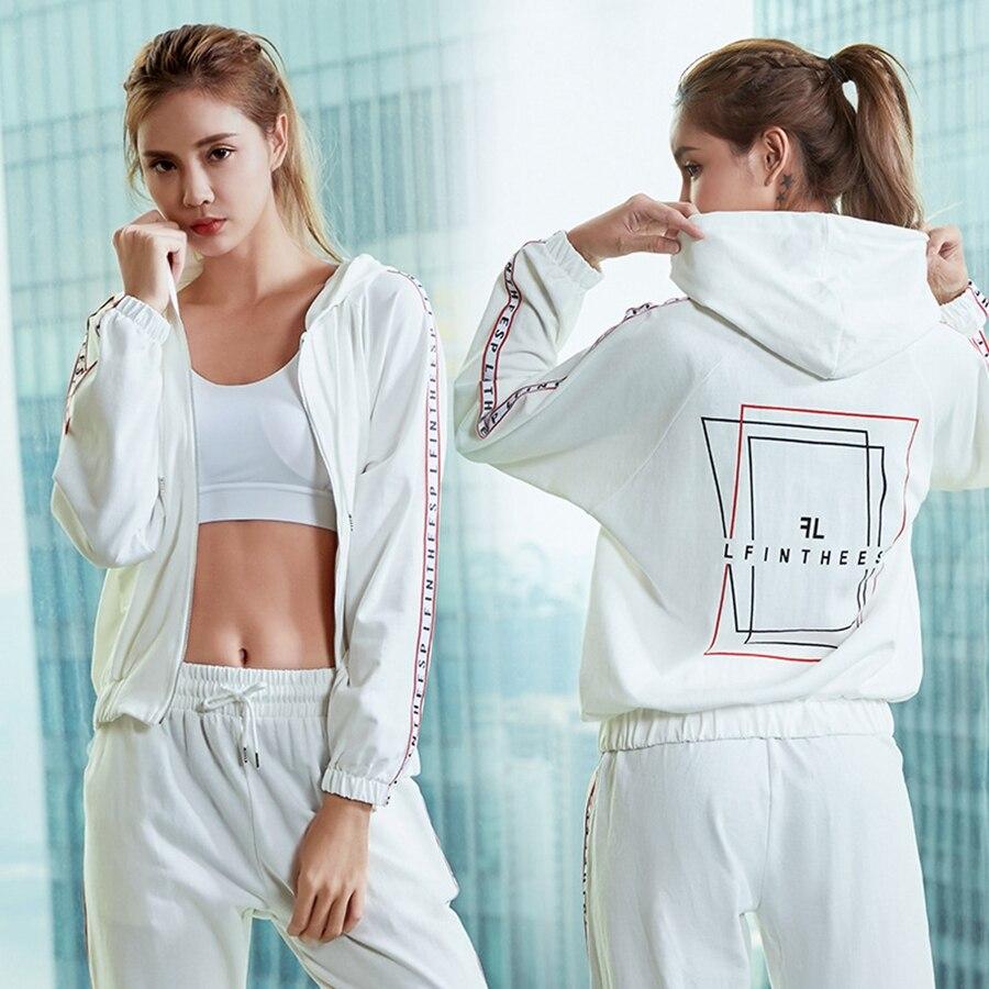 BINAND lettre latérale impression cordon femmes Yoga costume Zip Up à capuche veste poche respirant sec Fit Fitness Gym vêtements de sport ample