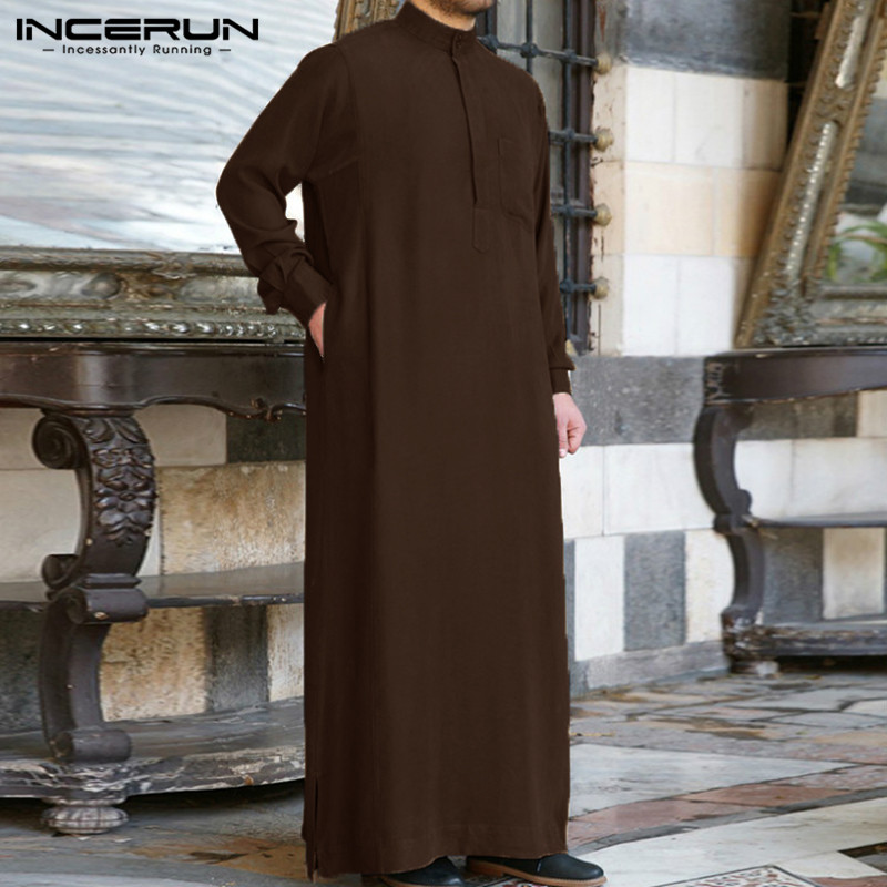 Muslim Mens Clothing Saudi Arab Long Sleeve Islamic Jubba Thobe Kaftan Top Dress