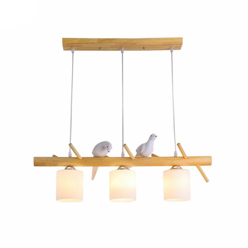 Nordic LED Bird Chandelier Suspension Pendant Lamps Lights Wood Resin Bird Han Lamps Luminaires Kids Bedroom Deco Light Fixtures|Pendant Lights|   - title=