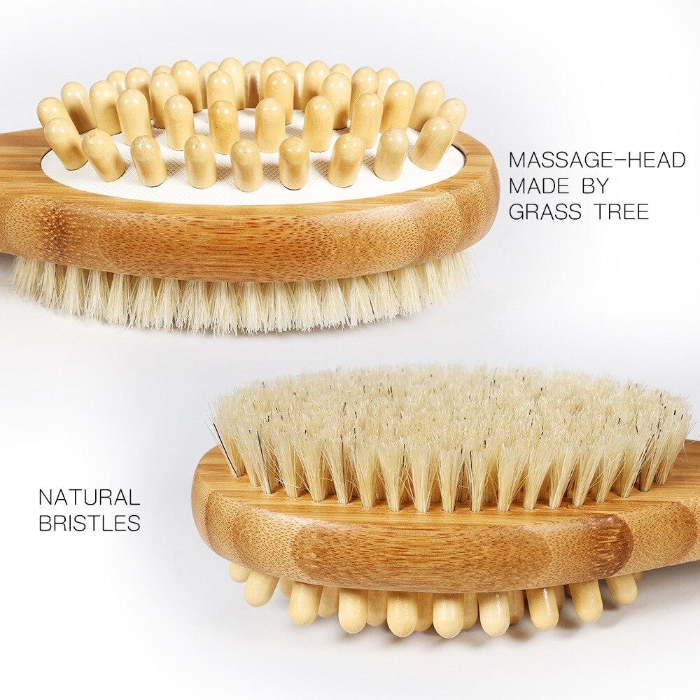 1 ud. Natural cerdas bambú mango baño ambos lados cepillo ducha cuerpo cepillo trasero LIMPIADOR EXFOLIANTE masaje cepillo para hombres las mujeres