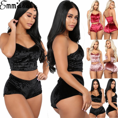 US Fashion Women 2pcs Velvet Sleepwear Sexy Spaghetti Strap Velvet Shorts Pajama Set Ladies Sleepwear female Pajama Party Set 1