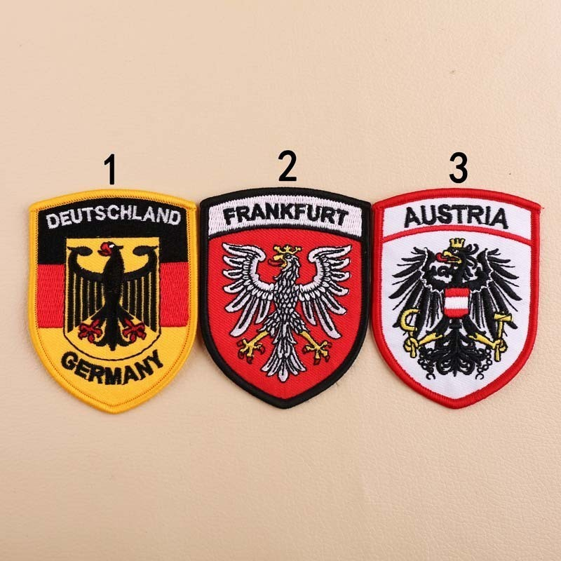 High Quality <font><b>Deutschland</b></font> Austria Frankfurt Badges Iron On Patches for Clothes 3D Diy Embroidery Letter Eagle Aplliques image