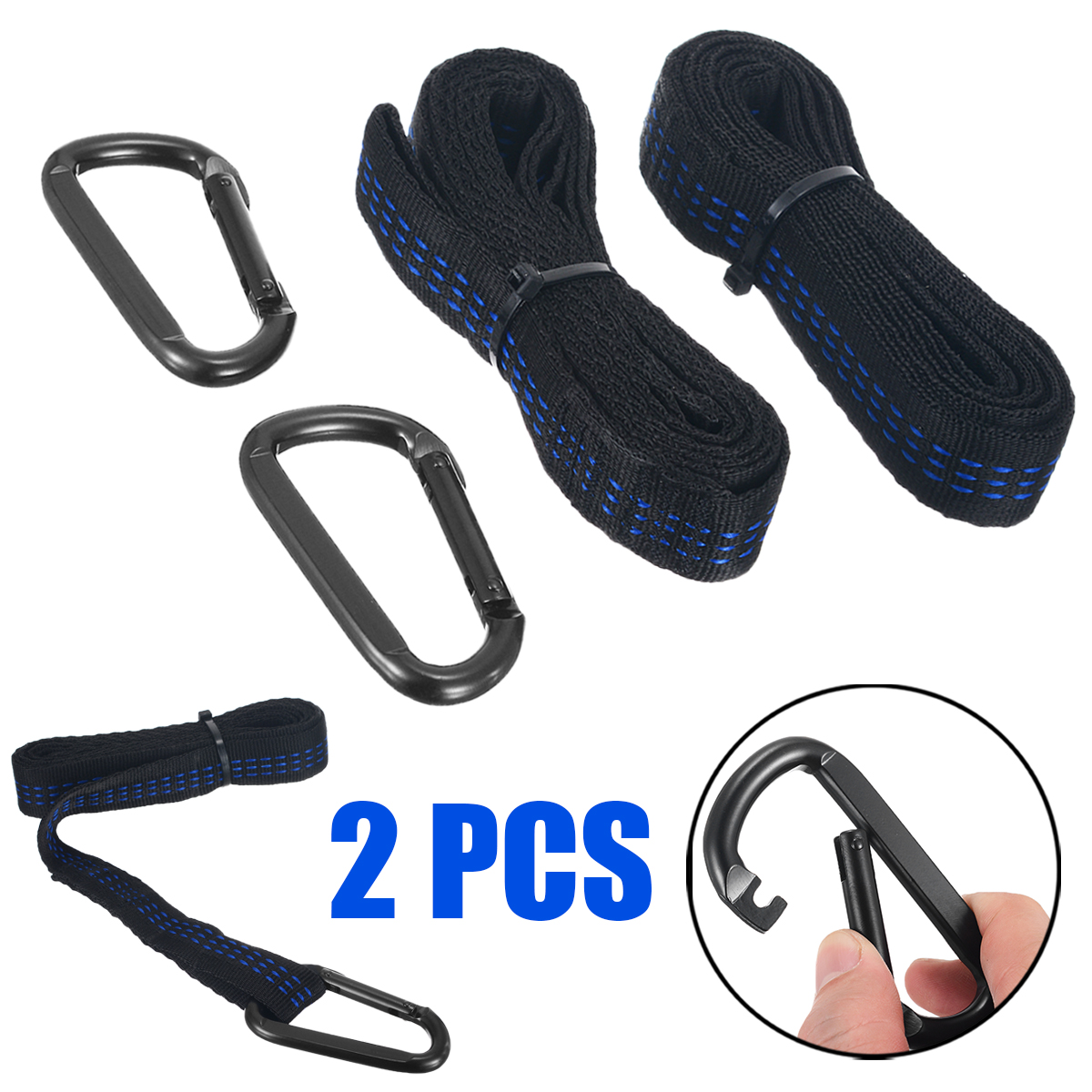 2pcs Adjustable Tree Hanging Belt Strong Extension Hammock Straps Heavy Duty Suspension +2 Buck For Camping Outdoor Suoo